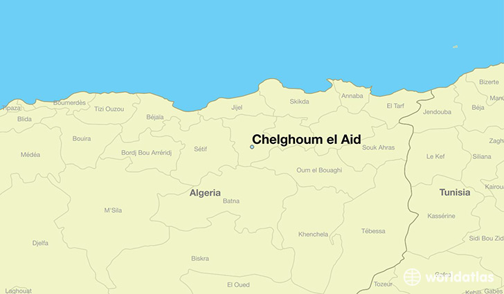 map showing the location of Chelghoum el Aid