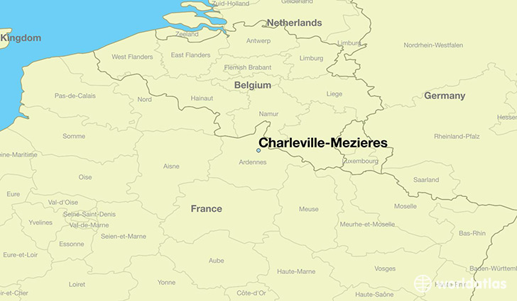 map showing the location of Charleville-Mezieres