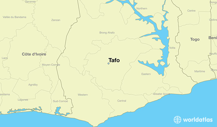 map showing the location of Tafo