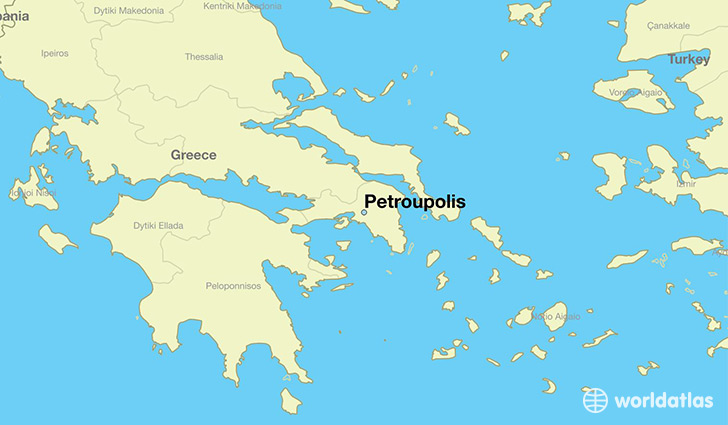 map showing the location of Petroupolis