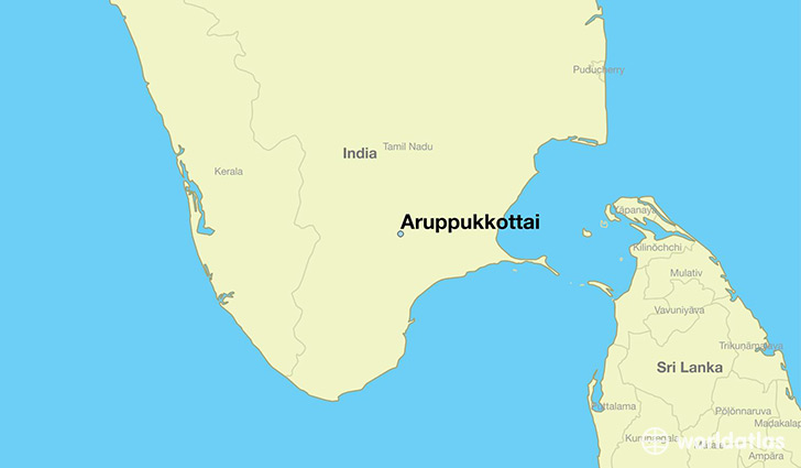 map showing the location of Aruppukkottai