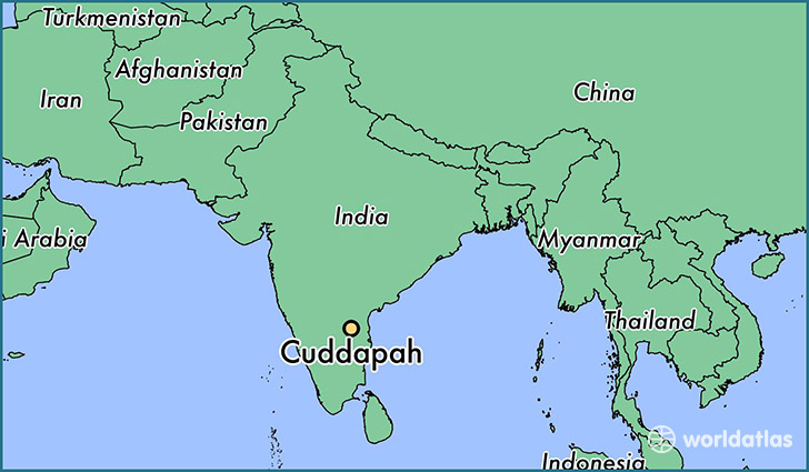 map showing the location of Cuddapah