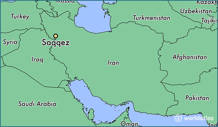 map showing the location of Saqqez
