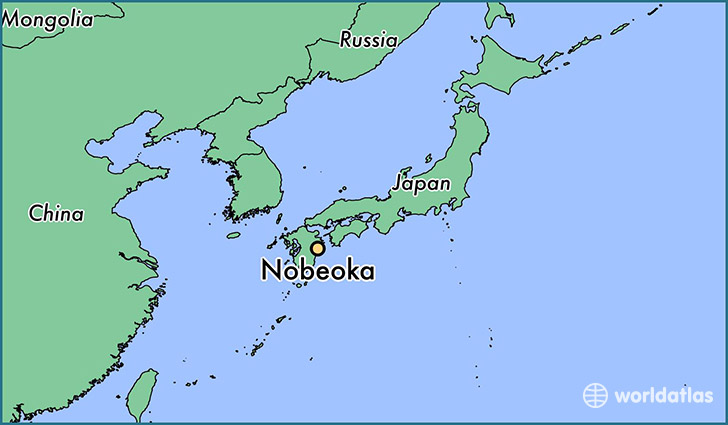 map showing the location of Nobeoka