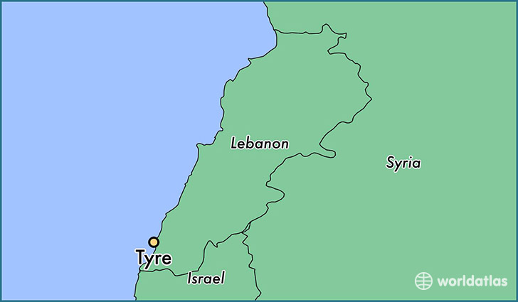 map showing the location of Tyre