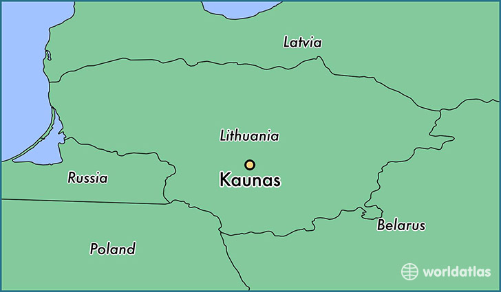 map showing the location of Kaunas