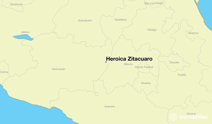 map showing the location of Heroica Zitacuaro