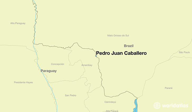 map showing the location of Pedro Juan Caballero