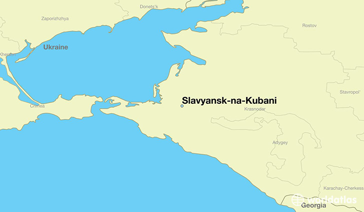 map showing the location of Slavyansk-na-Kubani