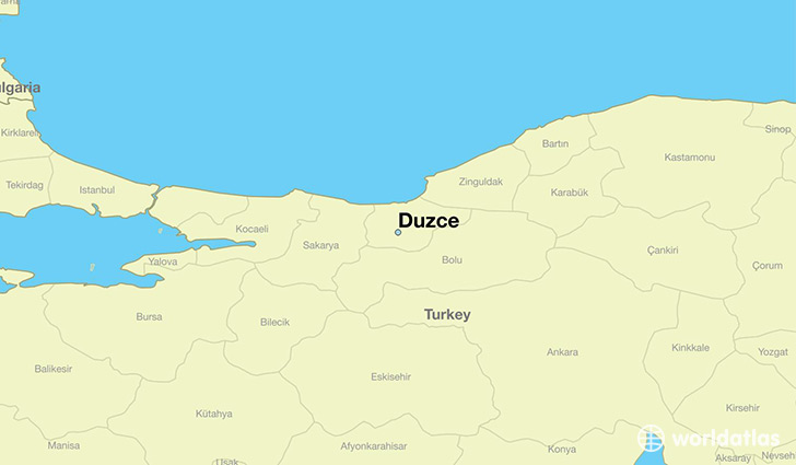 map showing the location of Duzce