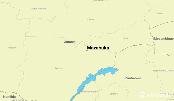 map showing the location of Mazabuka