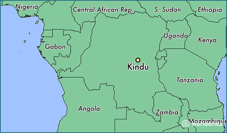 map showing the location of Kindu
