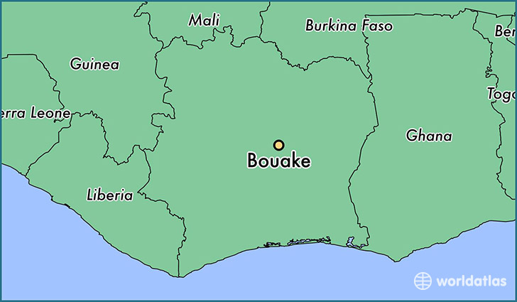 map showing the location of Bouake
