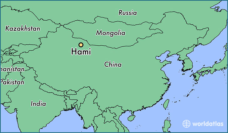 map showing the location of Hami