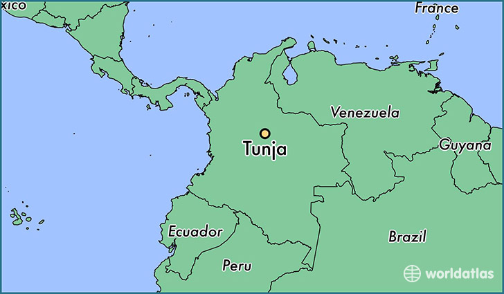map showing the location of Tunja