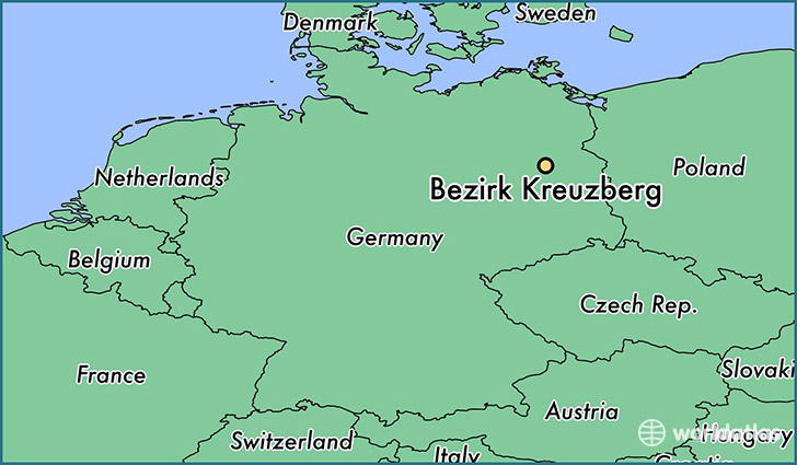 map showing the location of Bezirk Kreuzberg