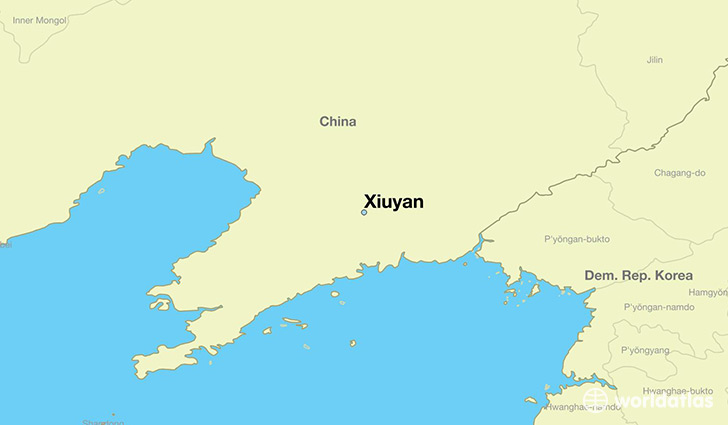 map showing the location of Xiuyan