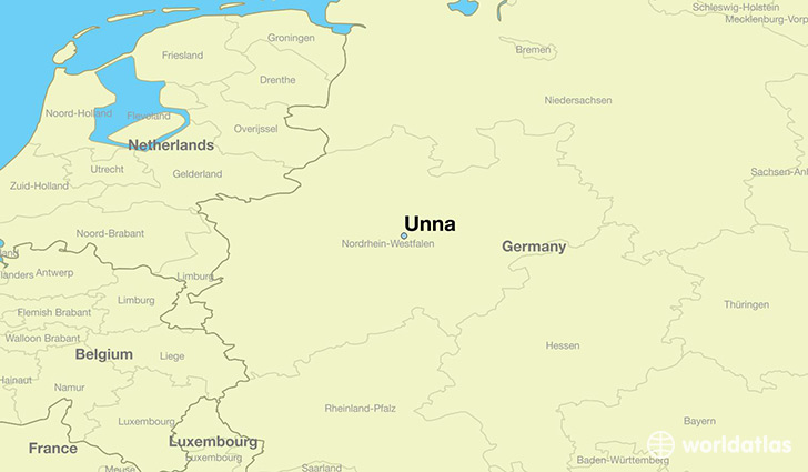 map showing the location of Unna