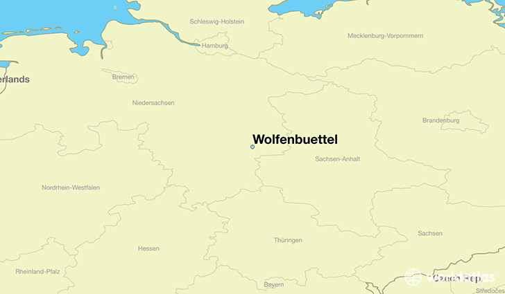 map showing the location of Wolfenbuettel