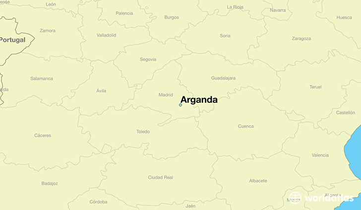 map showing the location of Arganda