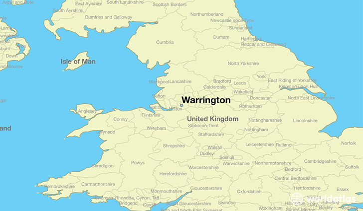 map showing the location of Warrington