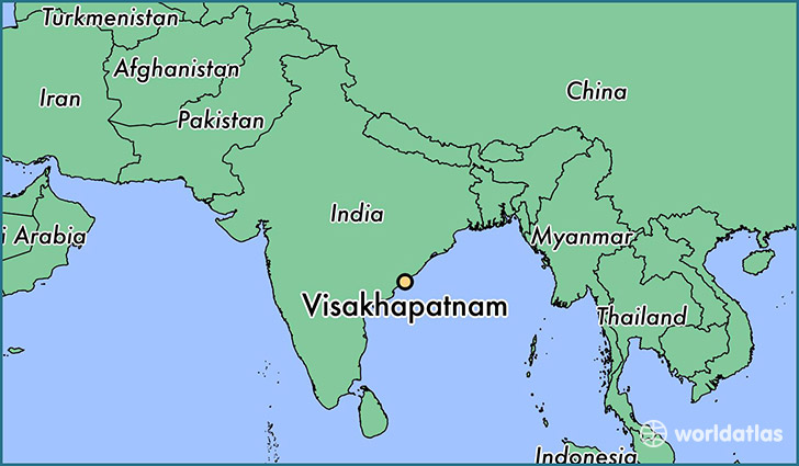 map showing the location of Visakhapatnam