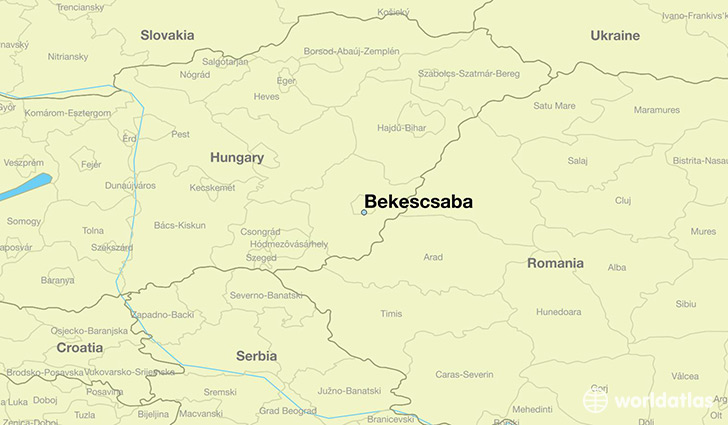 map showing the location of Bekescsaba