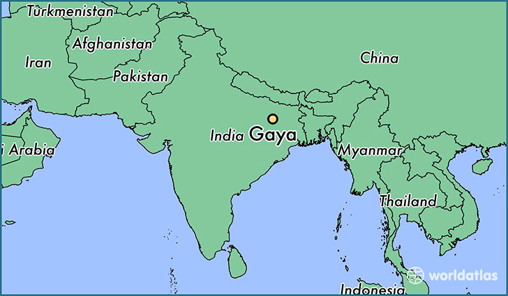map showing the location of Gaya
