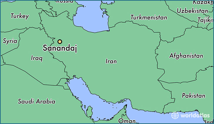 map showing the location of Sanandaj