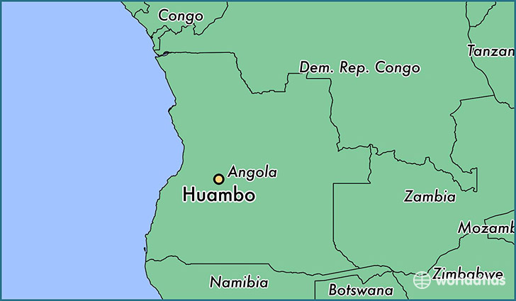 map showing the location of Huambo