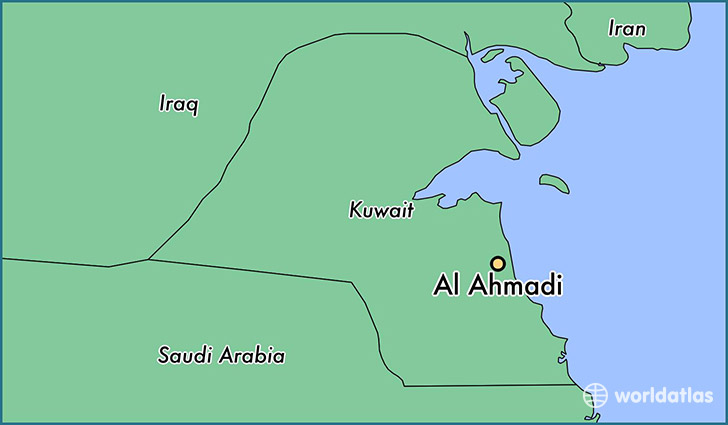 map showing the location of Al Ahmadi