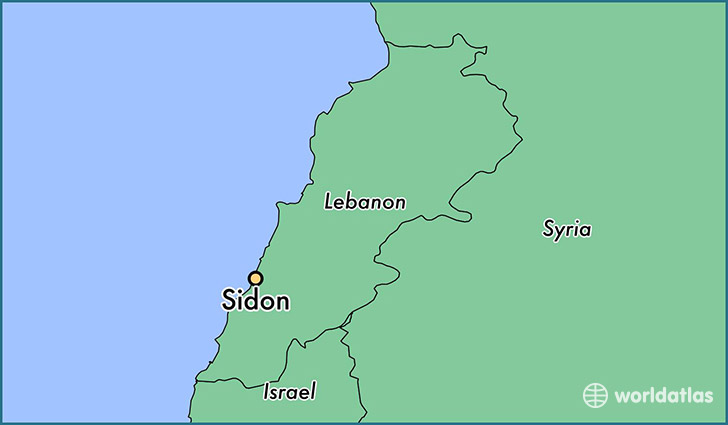 map showing the location of Sidon
