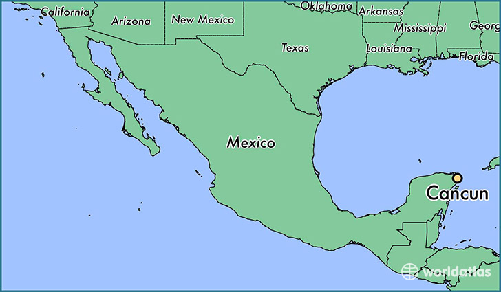 map showing the location of cancun