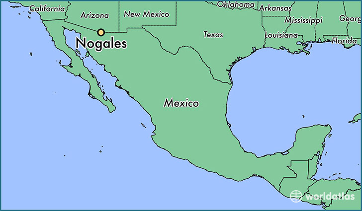 map showing the location of Nogales
