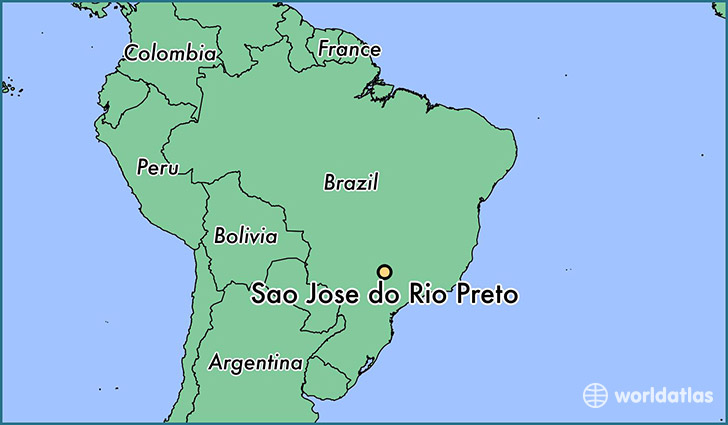 map showing the location of Sao Jose do Rio Preto