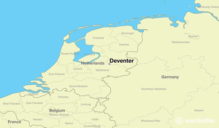map showing the location of Deventer