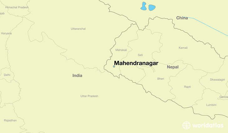 map showing the location of Mahendranagar