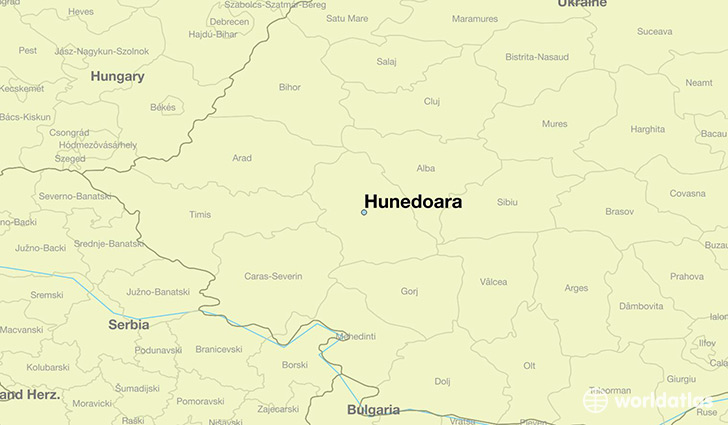 map showing the location of Hunedoara