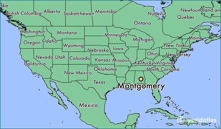 Where is Montgomery AL Montgomery Alabama Map WorldAtlascom