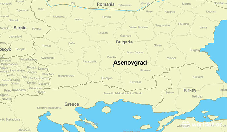 map showing the location of Asenovgrad