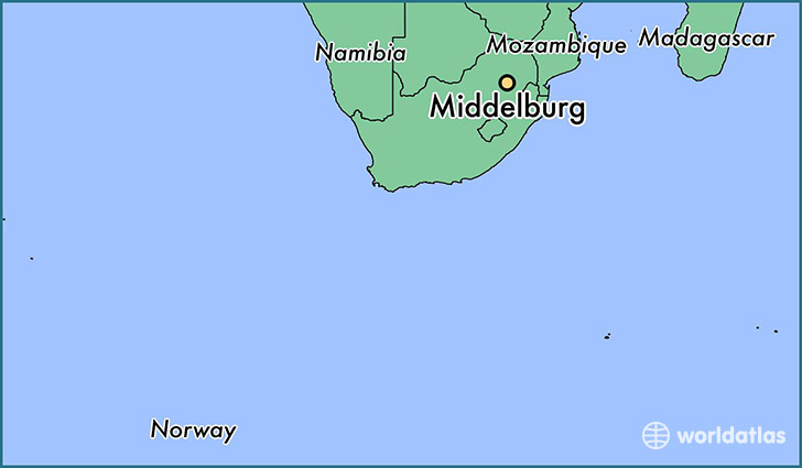 map showing the location of Middelburg