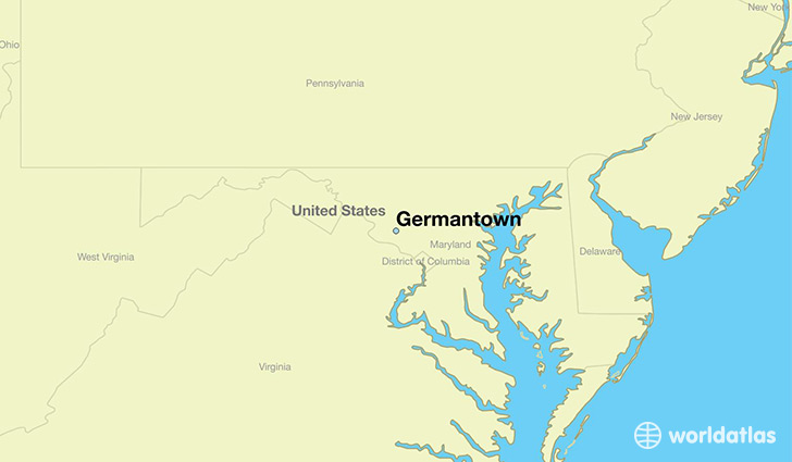 map showing the location of Germantown