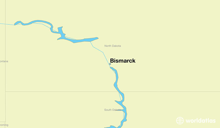 map showing the location of Bismarck