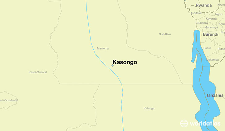 map showing the location of Kasongo