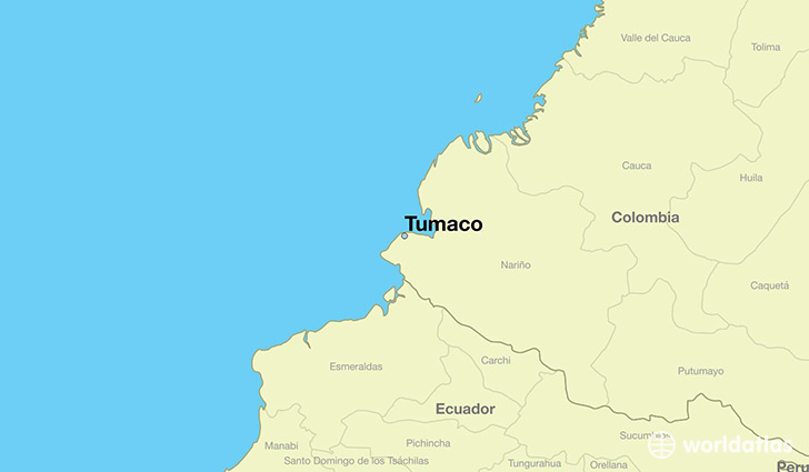 map showing the location of Tumaco
