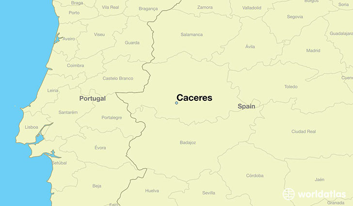 map showing the location of Caceres