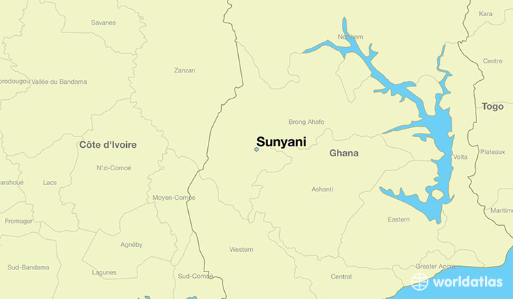 map showing the location of Sunyani