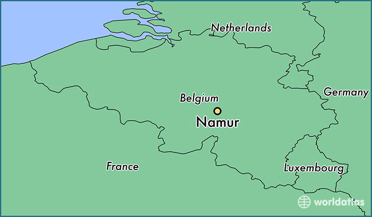map showing the location of Namur