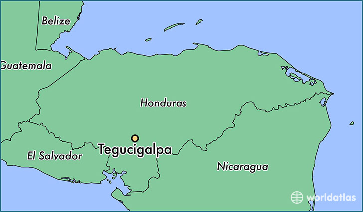 map showing the location of Tegucigalpa