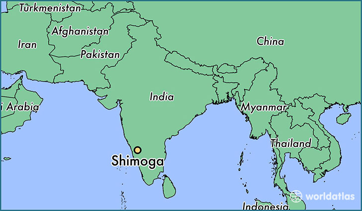 map showing the location of Shimoga